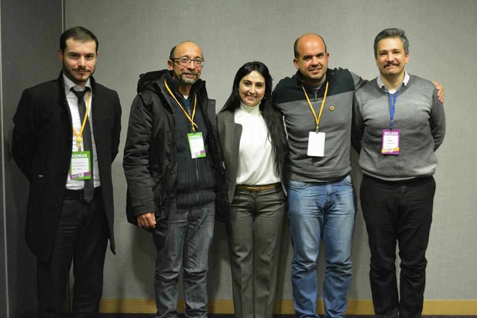 PSOL junto com Figen Yüksekdağ (Presidenta) e Alp Altınörs (vice-presidente) do HDP.