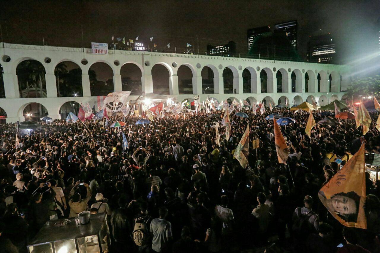 Comício no Rio de Janeiro da campanha de Marcelo Freixo a prefeito