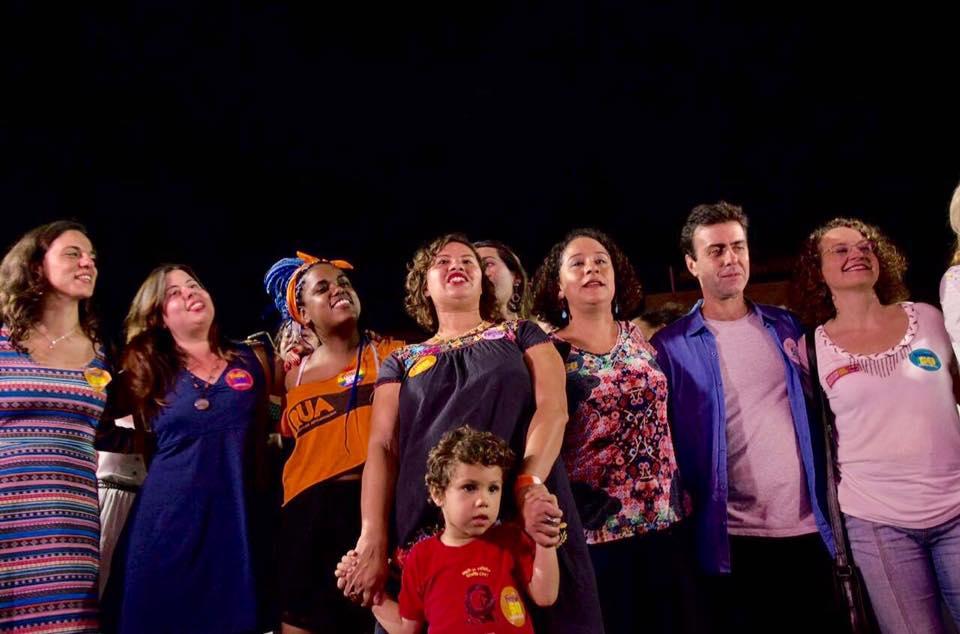 Mulheres com Freixo, Luciana Genro, Fernanda Melchionna e Sâmia Bomfim presentes